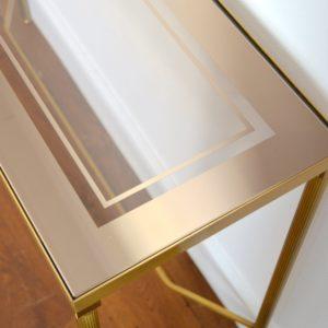 Console doré et verre style de Maison Jansen 1970 vintage 4