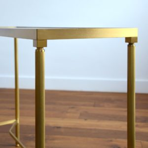 Console doré et verre style de Maison Jansen 1970 vintage 40