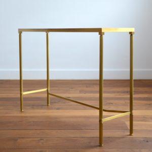 Console doré et verre style de Maison Jansen 1970 vintage 42