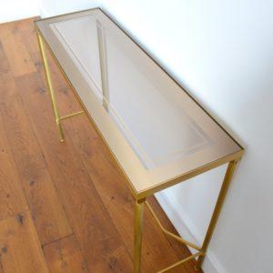 Console doré et verre style de Maison Jansen 1970 vintage 6
