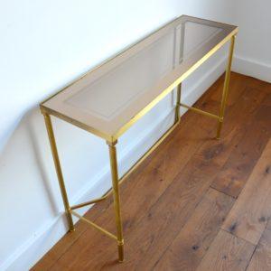 Console doré et verre style de Maison Jansen 1970 vintage 8