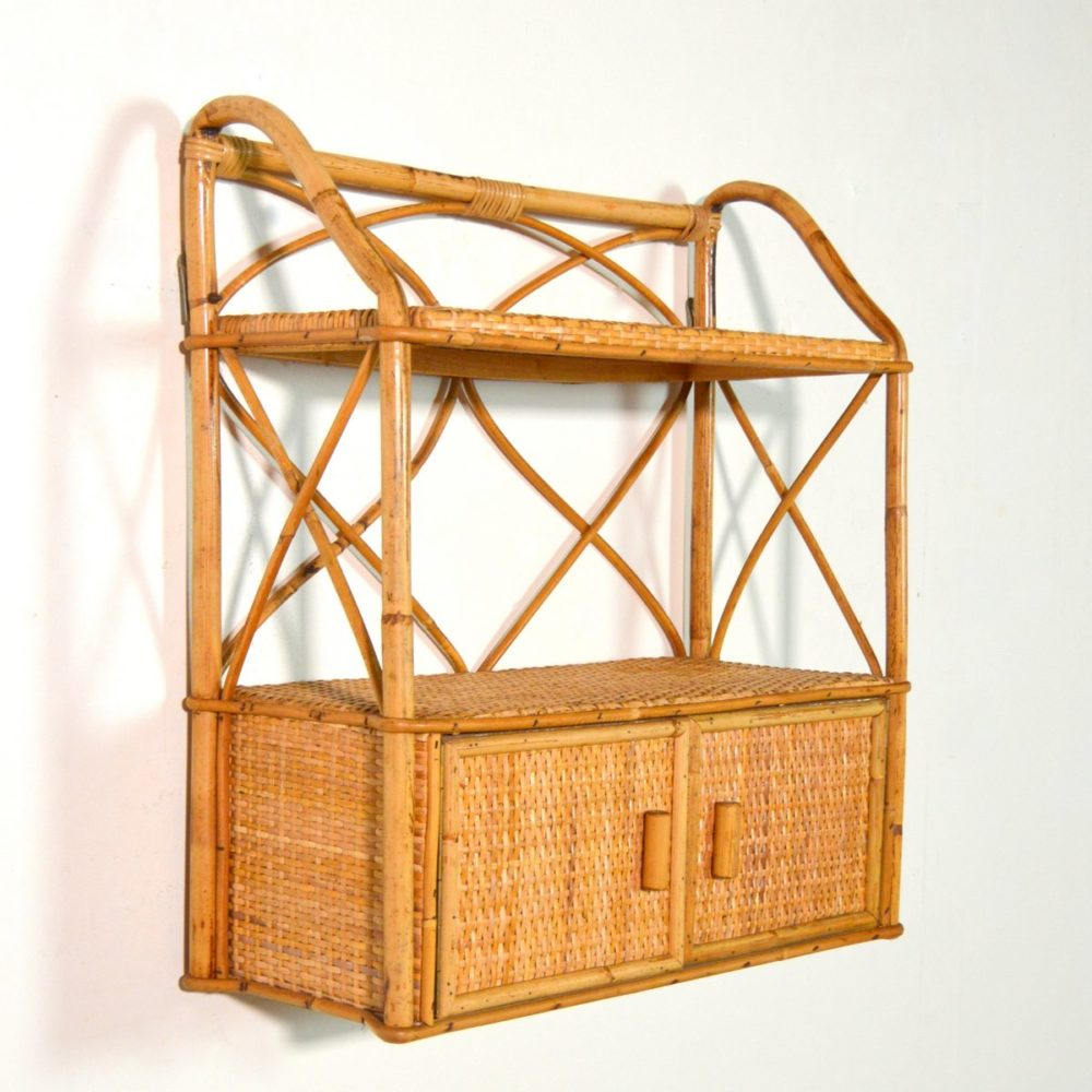Étagère bambou et rotin vintage 1960s