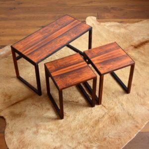 Table gigognes scandinave palissandre 1960 vintage 36