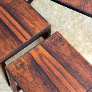 Table gigognes scandinave palissandre 1960 vintage 43